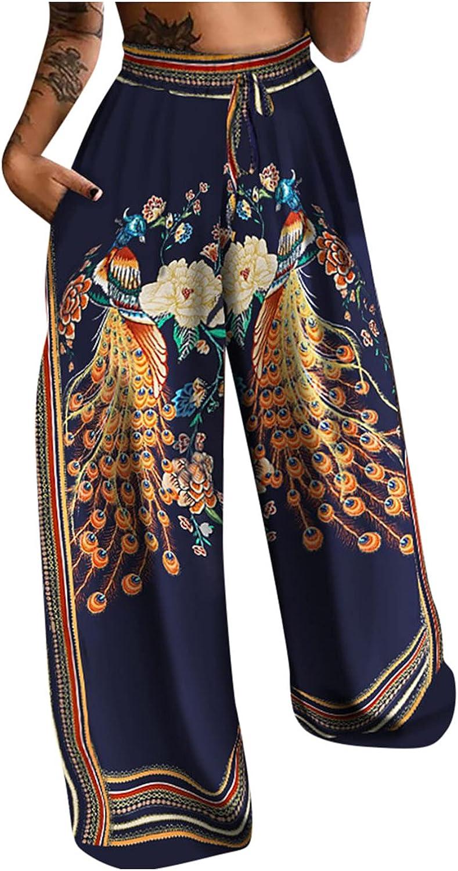 Misaky Women High Waist Printing Easy Trousers Long Pants Boho Beach Pockets Pants