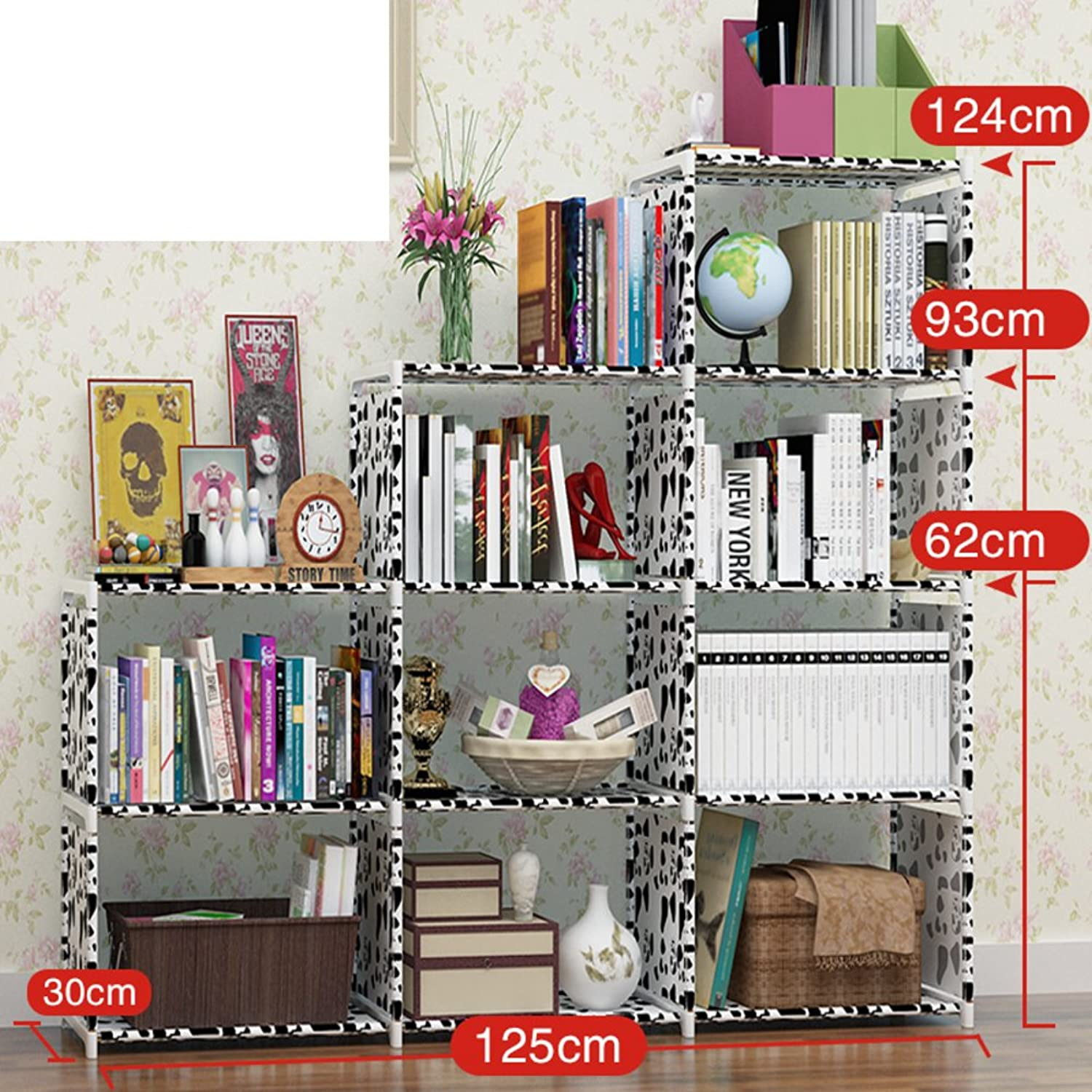 Steel Frame Plastic Bookshelf,Assembly Splicing Removable Deepened Rack Student's Economy and Simple Bookcase-R 125x30x124cm(49x12x49)
