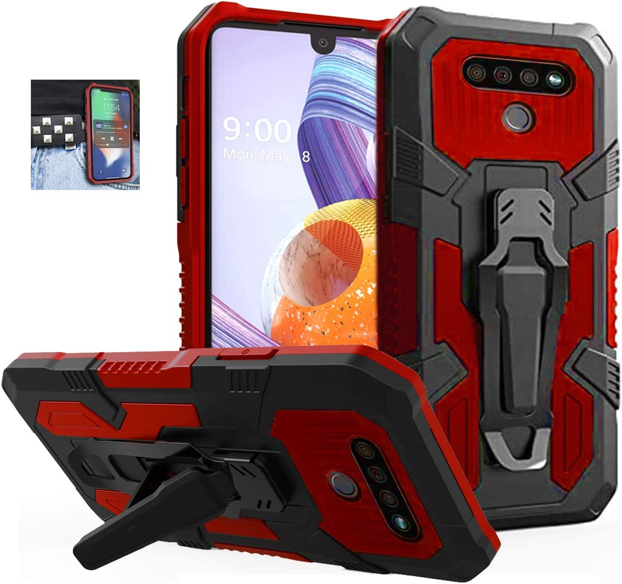 JoHenQii for Compatible Phone Case LG Stylo 6, LG K71 Case,Military Grade Protective Phone Case with Belt Clip and Kickstand for LG Stylo 6 (Red)