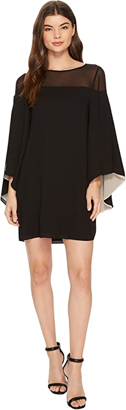 Halston Heritage - Flowery Sleeve Sheer Yoke Colorblocked Dress
