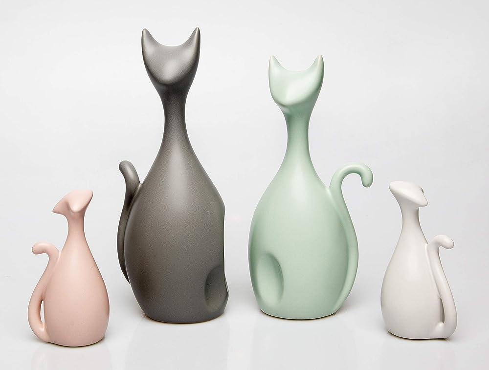 Aphacatop - set di 4 sculture a forma di gatto, design moderno, in ceramica, multicolore