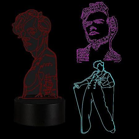 Gevo Apan 3 PCS Luz de noche 3D Anime japonés Ilusión Lámparas de decoración LED Luz de noche 3D Lámpara de Harry Styles Regalo para fanáticos Luz de dormitorio Sensor táctil LED Lámpara de escritorio