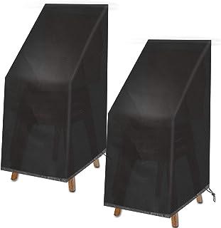 VAZILLIO Funda protectora para sillas de jardín Oxford, resistente al agua, al viento, resistente a los rayos UV, 2 unidades de 75 x 75 x 120 cm