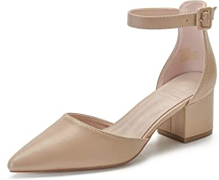 Pointed Toe Ankle Strap D'Orsay Block Heel Pumps Shoes