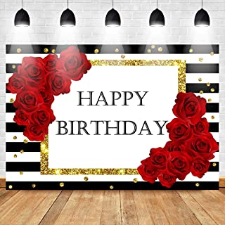 Mehofoto Happy Birthday Backdrop Black White Striped Background 7X5ft Red Rose Decorate Golden Dot Vinyl Birthday Party Banner Decoration Supplies Photography Backdrops Props