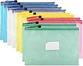 Sooez Plastic Mesh Zip File Document Folders, 10 Pack Letter Size A4 Size Zipper Document Pouch Waterproof Document Bag with Label Pocket & Zipper for School Office Home Travel Storage, Assorted Color