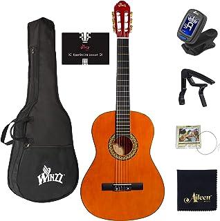 گیتار کلاسیک 39 اینچ آکوستیک مبتنی بر اندازه کامل با رشته های تیونر Bag Capo