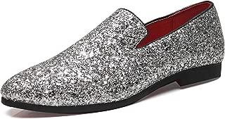 Mens Smoking Slipper Metallic Sparkling Glitter Tuxedo Slip on Dress Shoes Loafers Shoes