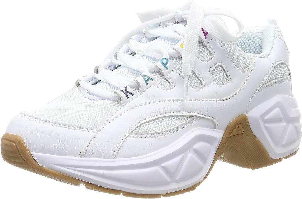 Kappa overton, scarpe da ginnastica basse per donna,sneakers,in pelle sintetica 242672
