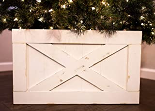 Finn & Co Home Wood Christmas Tree Box Skirt (White Distressed)