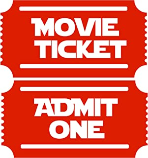 Movie Tickets 2 Admit One NEW Large Theater Room Wall Decor Decal (Dark Red)