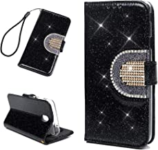 Galaxy J7 V 2nd Gen Case, Wallet Flip Folio Mirror Case Bling Shiny Glitter Diamonds Kickstand Card Slots Wrist String PU Leather Wallet Shockproof TPU Bumper Slim Cover for Samsung Galaxy J7 - Black