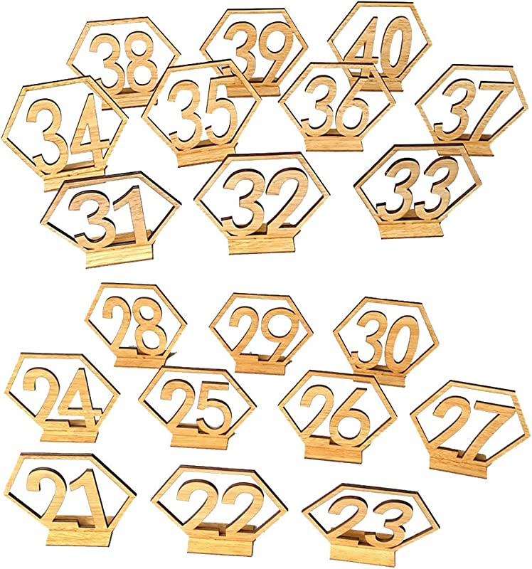 Ocamo Number 21 40 Elegant Wooden Hollow Out Hexagon Table Cards Reception Seat Card For Party Event Organizing Decorating 20PCS Set
