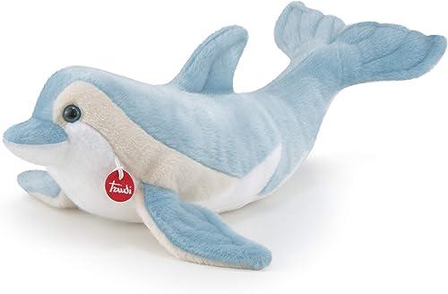 Trudi 26725 Delphin Dino Plüsch, Hell Blau Weiß, L