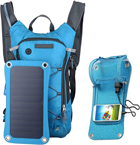 Edith qi 7W Solar Sports Backpack, Lightweight Travel Bag Hiking Camping Backpacks, Ultralight Outdoor Sport Backpack with USB Charging Port,Waterproof Mutiple Function