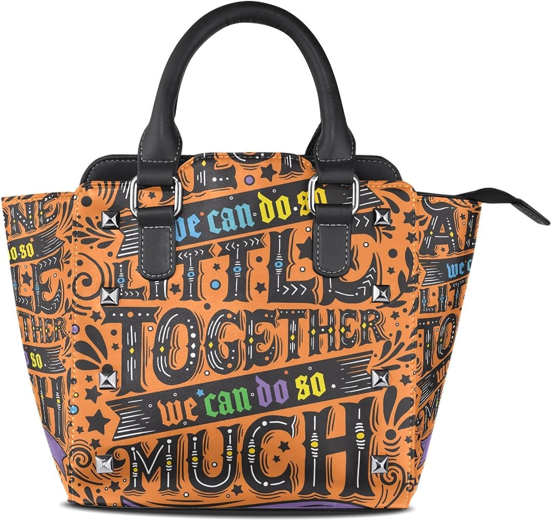 Women's Top Handle Satchel Handbag Alone Little Together Much Ladies PU Leather Shoulder Bag Crossbody Bag