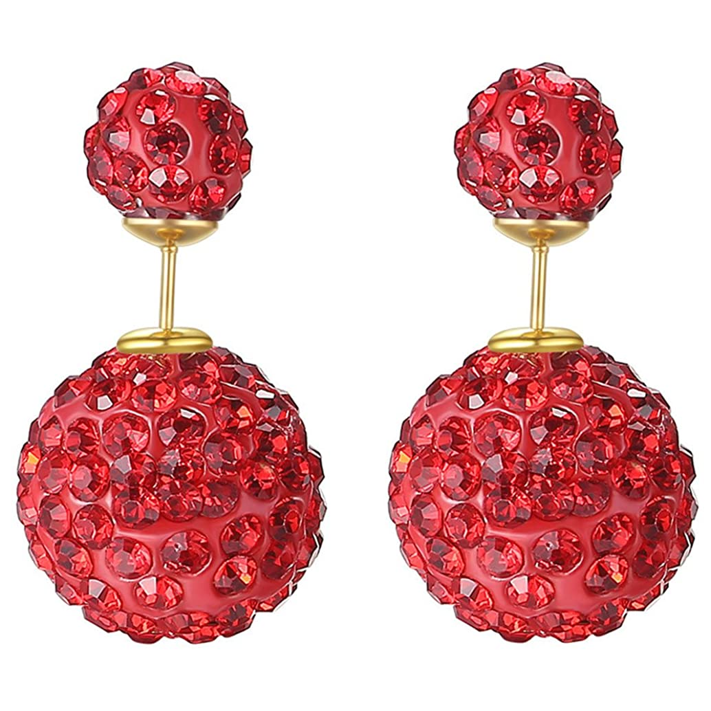 18K Gold Plated Red Crystal Rhinestones double-sided Shambhala Style two Balls Women Stud Earrings