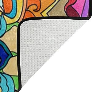 Alfombra de suelo Coosun, antideslizante, diseño de mandalas, ideal para salón o dormitorio, tela, multicolor, 36 x 24 inch