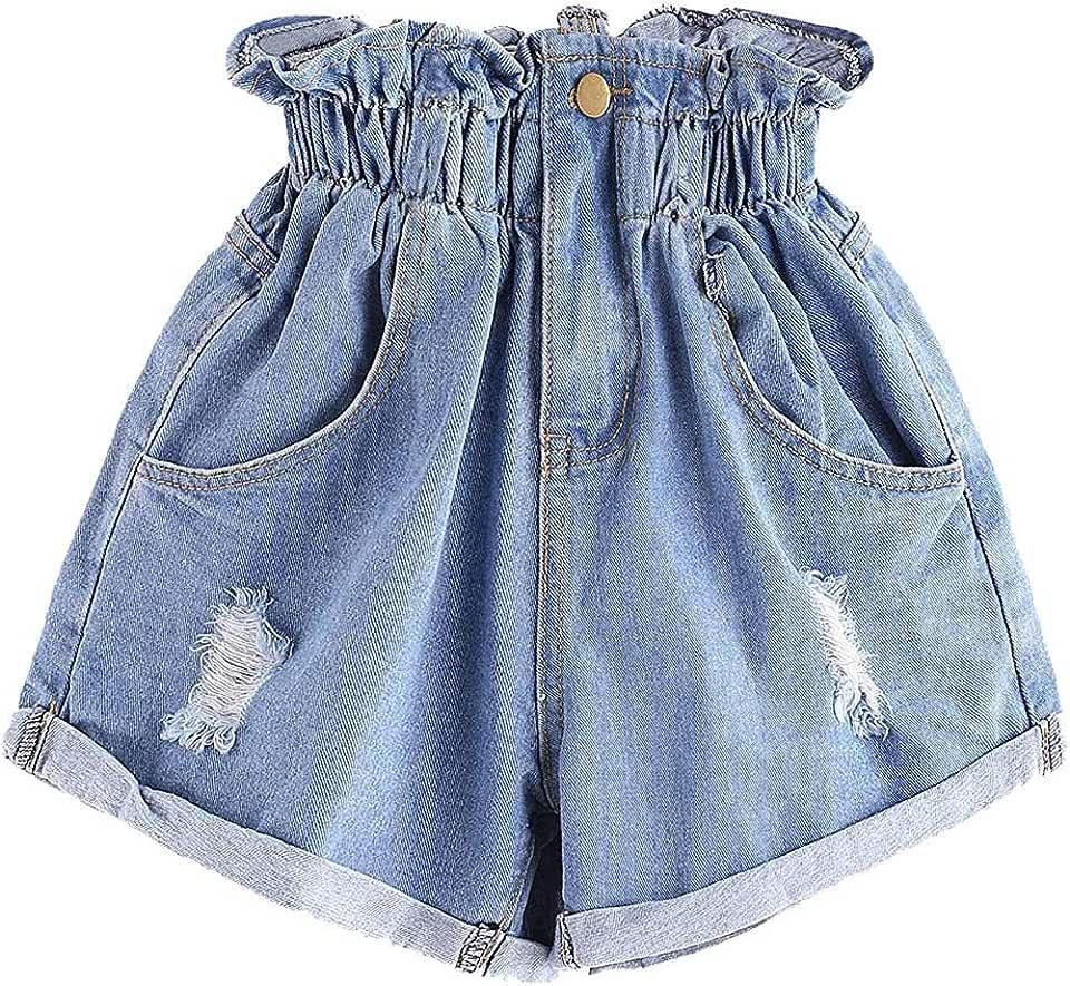 AZcczzii Women's Fashion Casual High Waist Ruffle Waist Roll up Loose Denim Shorts Flower Zipper