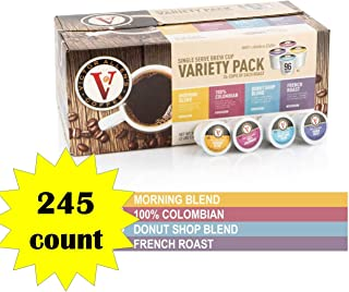 Donut Shop, Morning Blend, 100% Colombian, and French Roast Variety Pack for K-Cup, Keurig 2.0 Brewers, 245 Count Victor Allens Coffee Single Serve Coffee Pods (Unflavored- 245 Count)