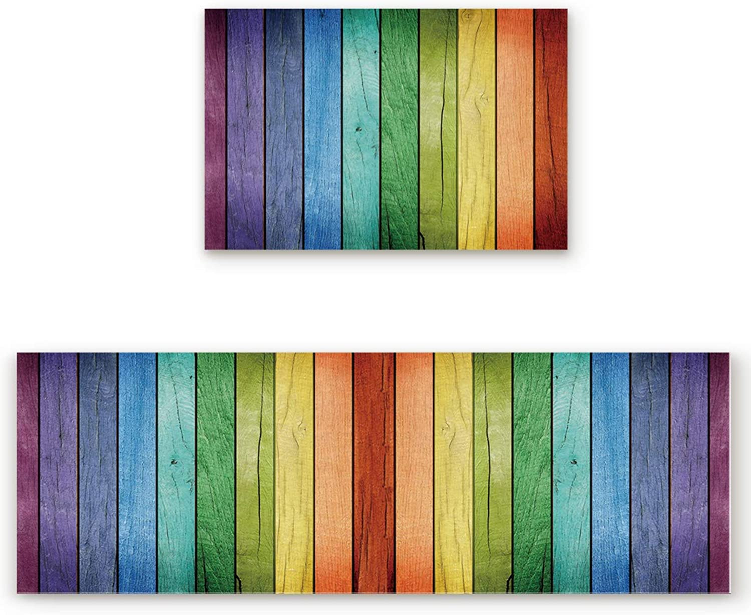 Savannan 2 Piece Non-Slip Kitchen Bathroom Entrance Mat Absorbent Durable Floor Doormat Runner Rug Set - Old Wood Rustic Oak Plank Background with greenical Striped Vivid Woods Farm Barn Image