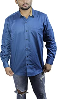 Spanish One Look Mens Casual Long Sleeve 100% Cotton Regular Fit Button Down Casual Shirts Dress in Blue Plain Shirt for Men