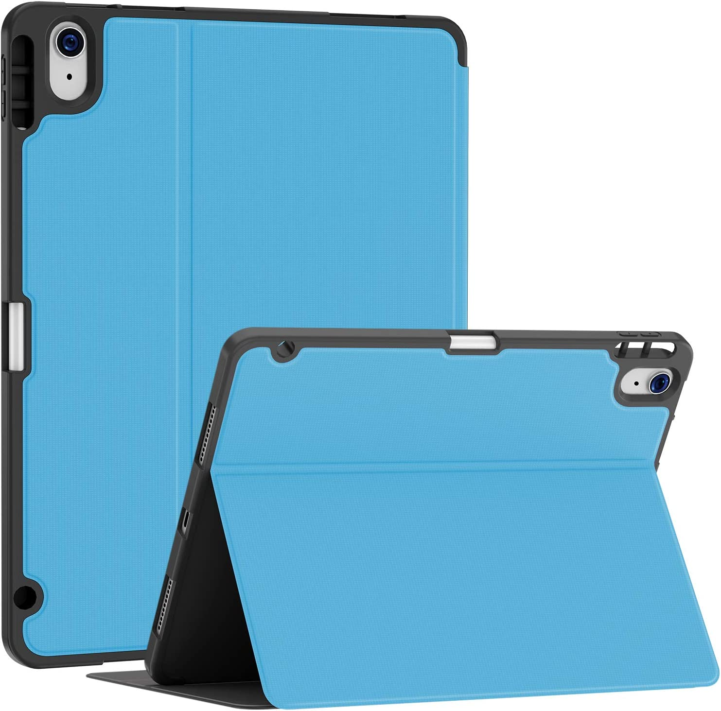 Soke Case for iPad Air 4th Generation 2020, iPad 10.9'' Case with Pencil Holder, Premium Shockproof Stand Folio Case[Support Touch ID + The 2nd Pencil Charging], Smart Soft TPU Back Cover, Light Blue