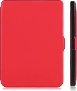 """for Kobo Clara HD 6"""" Tablet Ultra Thin Slim Folio Sleep/Wake Up Leather Case Smart Cover (Red)"""