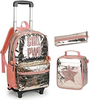 Mochila con ruedas, mochila escolar, mochila escolar para niños, mochila con ruedas, bolsa de almuerzo, estuche de poliuretano, impermeable, con 2 ruedas