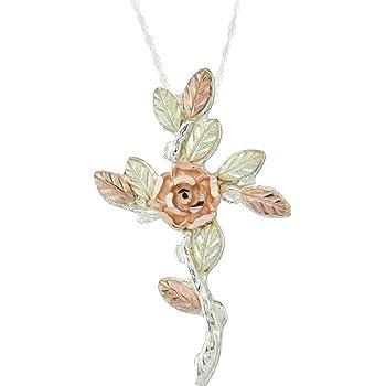 Sterling Silver Black Hills Gold Rose Croix Pendentif /& Collier