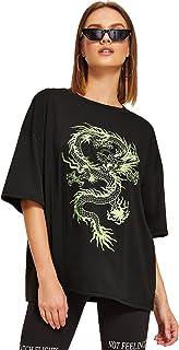 Floerns Women's Casual Cartoon Printed Short Sleeve Tee T-Shirt