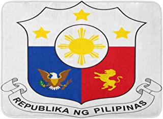 腕章の紋章の印のフィリピンの切り欠き屋内屋外ドアマットラグフロアマット滑り止め寝室用バスルームリビングルームキッチン23.6×15.7インチ家の装飾