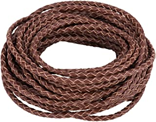 PandaHall Elite 5.5 Yard 3mm Round Folded Bolo PU Braided Leather Cord Bolo Tie for Necklace Bracelet Jewelry Making Brown