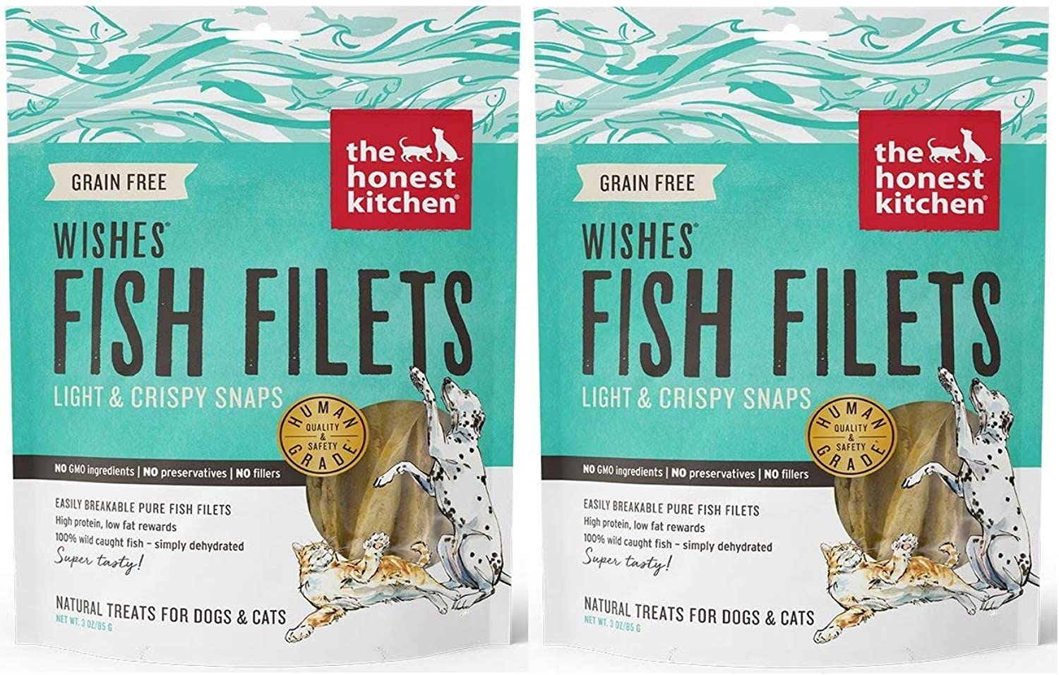 Honest Kitchen The Wishes  Natural Human Grade Dehydrated Fish Filets, Treats for Dogs Cats, 6 oz