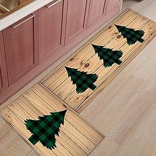 2 Piece Kitchen Mat Non-Slip Floor Mat Super Soft Indoor Rugs Bathroom Area Rugs Doormat Runner Rug Set Carpet,Christmas Tree Green and Black Buffalo Check Plaid (19.7x31.5in+19.7x63