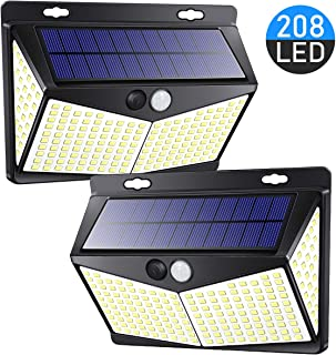 208 LED Solar Lights Outdoor, Solar Motion Sensor Light Outdoor with 3 Lighting Modes, 270° Wide Angle Lighting, IP65 Waterproof. Bright Wireless Security Lights for Fence Deck Yard(2 Pack, 6500K)