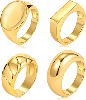 4 PCS Gold Chunky Dome Rings Set for Women/Men, 18K Real Gold Signet Polished Round Stacking Minimalist Ring Size 5-10