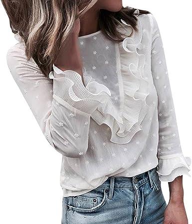 riou Mujer Moda Mujer Casual Sexy Encaje Punto Punto Cuello Redondo O-Cuello Dulce con Volantes Camiseta de Manga Larga Encaje