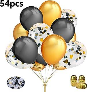Aperil Set de globos de oro negro, globos de confeti de oro negro Decoración de cumpleaños con 50 piezas Globos de látex de oro negro 3 piezas Cintas de globos para hombres