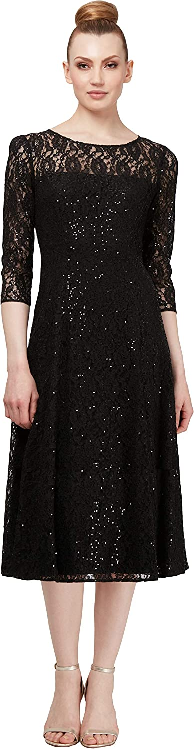 S.L. Fashions Women's Midi Length Sequin Lace Fit and Flare Dress (Missy Petite)