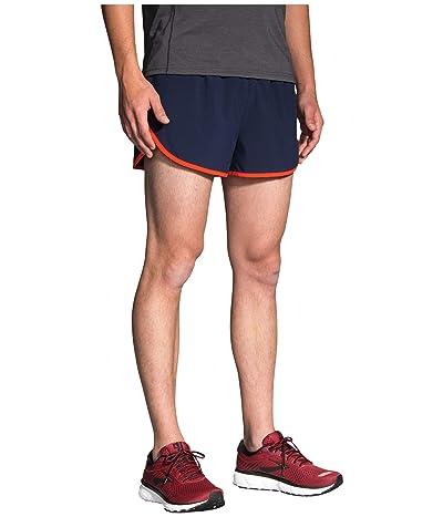 Brooks 3 Hightail Split Shorts (Navy/Lava/Cobalt) Men