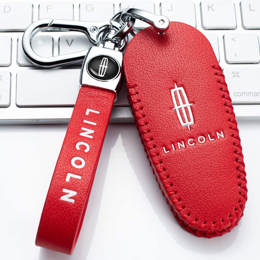 Leather Car Key Fod Cover Case Protector Keyless for Lincoln 2017 2018 2019 Lincoln Continental MKC MKZ Navigator Smart Entry Remote key holder 4 Buttons