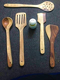 DECORVAIZ Wooden Serving and Cooking Non Stick Wooden Spoon Set of 5 Spatula Kitchen Cum Cooking Tools