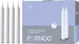 Light In the Dark White Taper Candles, Dripless Candles - 6 inch Tall, 3/4 inch Thick - 5 hour Clean Burning, Set of 80