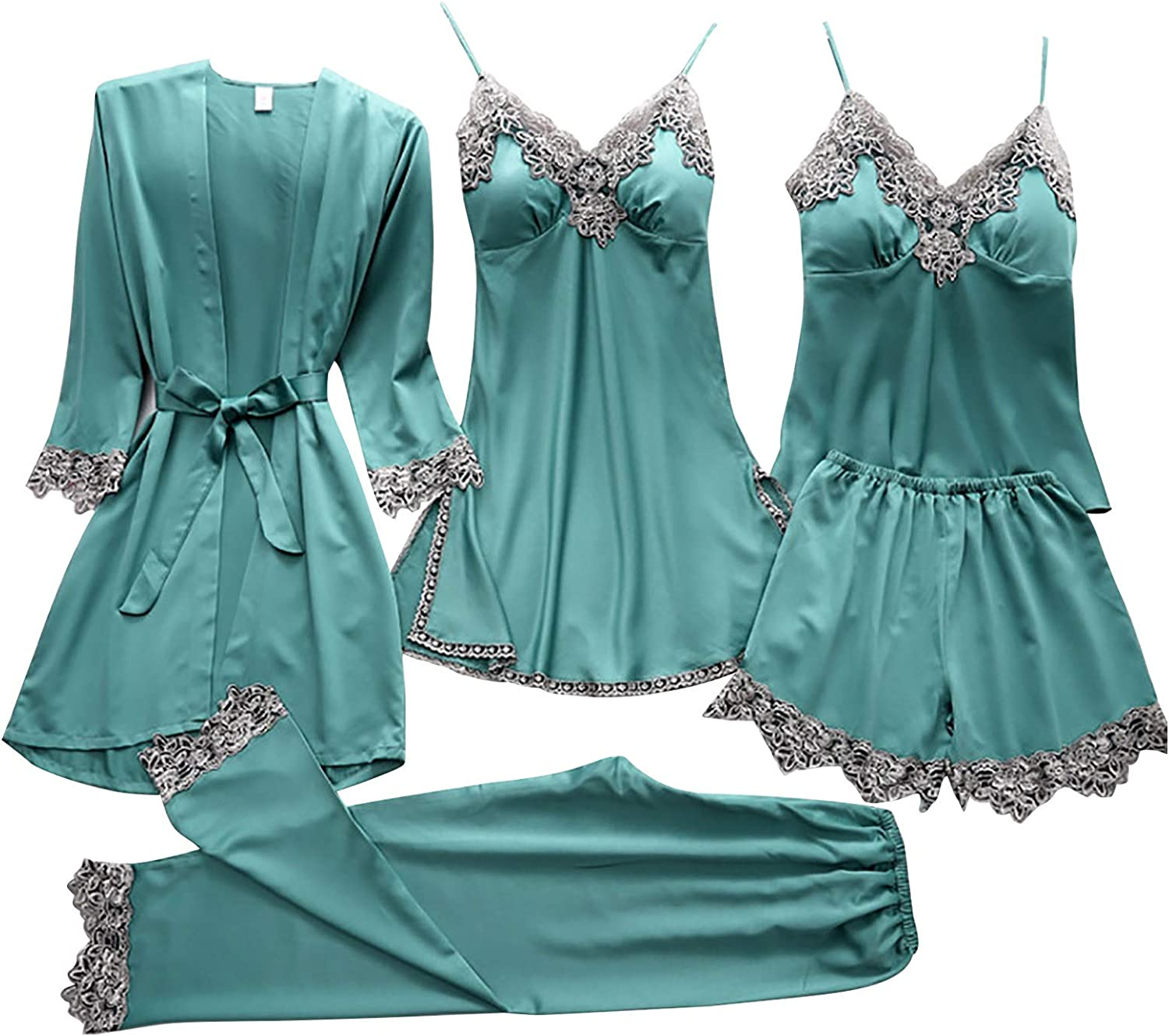 Women's 5 Pieces Satin Floral Lace Cami Top Lingerie Pajama Set with Robe Nightgown Pants