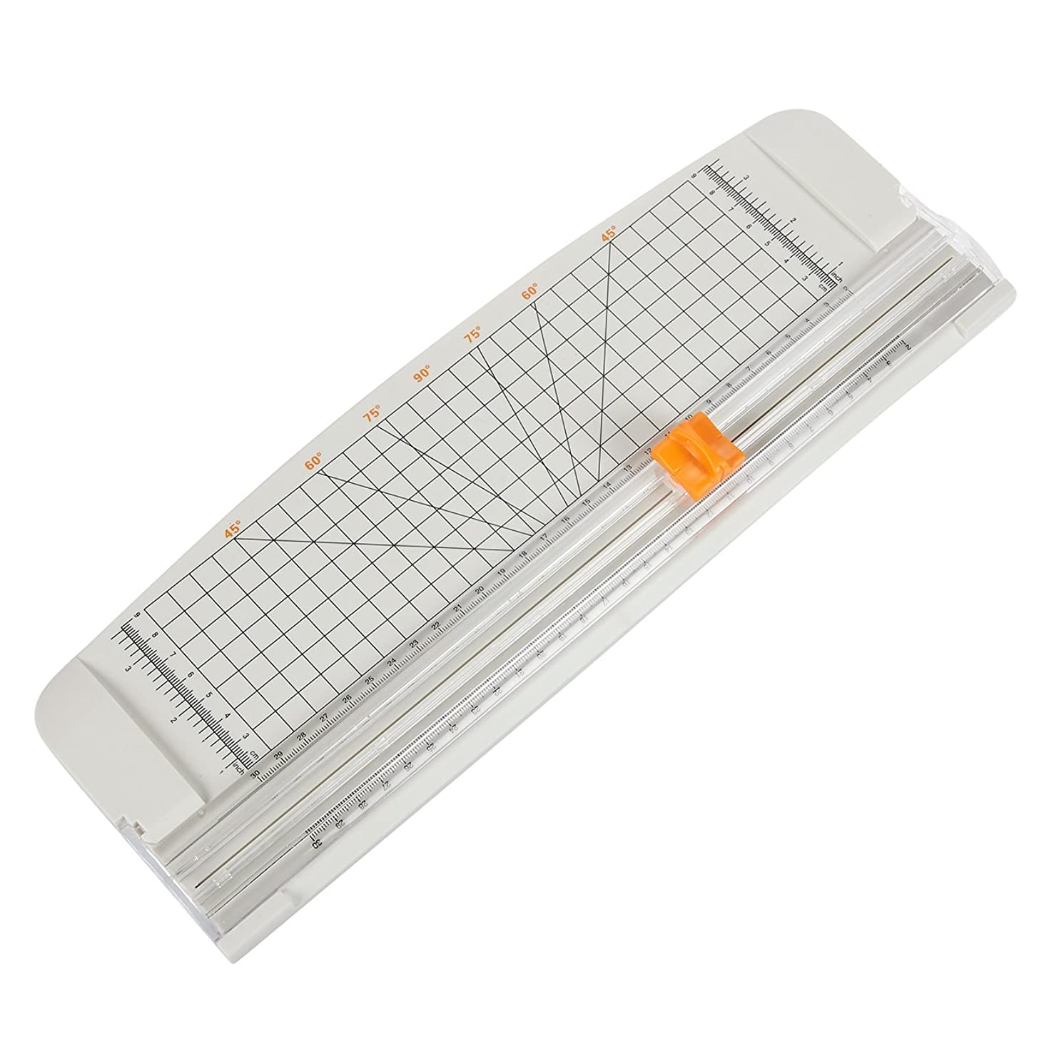 Paper Trimmer/Paper Cutter - Paper Cutting Board with Grid Guide - for Scrapbooking, Picture Cutting, Label Design, Coupon Cutting - Grey, 14.75 x 5.1 inches