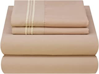 Mezzati Luxury Bed Sheets Queen - Soft and Comfortable 1800 Prestige Collection - Brushed Microfiber Bedding (Cappuccino, Queen Size)