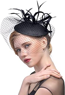 Vintage Feather Fascinators Pillbox Hat with Veil for Cocktail Tea Party | Christmas Costume for Girls/Women