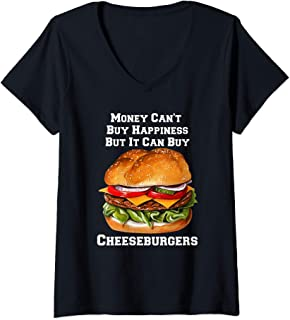 Womens Money Can Buy Cheeseburgers I Love Fast Food Cheeseburger V-Neck T-Shirt