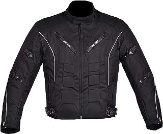 NORMAN Herren Motorrad Motorrad Jacke Wasserfeste Textil mit Ce Verstärkt Schwarz